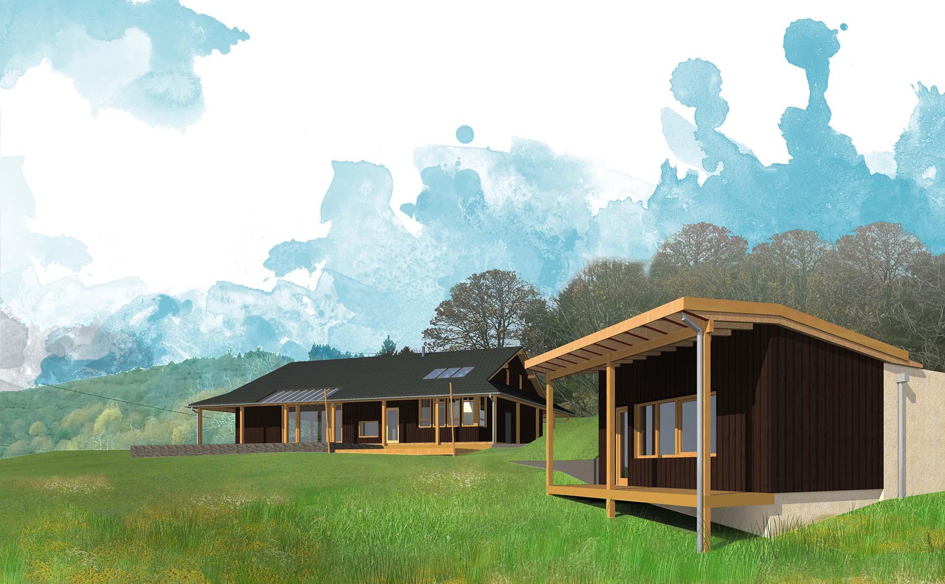 Casa in legno e paglia : prospettiva